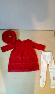 Beautiful Janie and Jack Dress, Beret and Tights 3 to 6 months