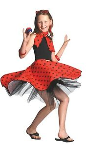 Girls-50s-Red-Rock-n-Roll-Skirt-Grease-Childs-Fancy-Dress-Kids-1950s-Outfit