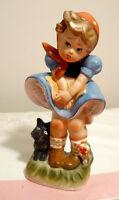 Bibelot vintage fillette avec chien noir style Hummel Japan
