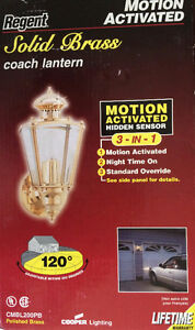 Motion Activated 3 in 1 Solid Brass Coach Lantern in the Box