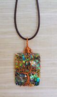 Abalone Wire Wrapped Tree of Life Pendant