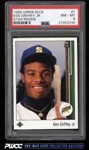 KEN GRIFFEY JR ... Upper Deck RC ... PSA graded ... NM - MINT 8