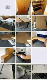 Wave and L shape Office desks and file cabinets