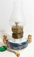 Miniature Footed Kerosene/Oil Lamp Navy Blue Border and Gold