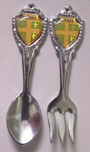 Quebec Souvenir Collector's Miniature Spoon & Fork Set