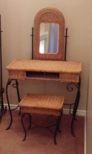 Rattan Makeup Desk and stand up mirror