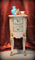 Vintage shabby chic lamp table / night stand / jewellery storage