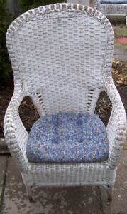 Wicker Chair with Blue Cushion