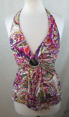 BISOU BISOU Womens Halter Top Blouse, Size S, Paisley, Boho, Stretch, Sexy, C502