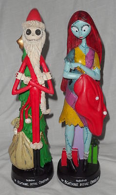 """LOT / SET OF 2 NIGHTMARE BEFORE CHRISTMAS STATUE FIGURINES JACK & SALLY 12"""" RESN"""