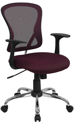 Mid-back Burgundy Mesh Swivel Office Chair With Arms Built-in Lumbar Support