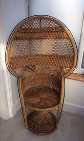 VINTAGE RETRO PEACOCK CANE CHAIR