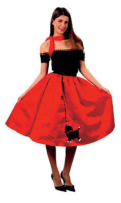 Poodle Skirt Costume For Adults (BOPPER WOMEN 50s RED POODLE SKIRT ADULT COSTUME FOR FANCY DRESS FOR)