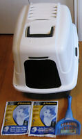 Used Cat Litter Box Petmate Large Hooded Litter Pan with