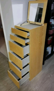 6 Drawer Tall Dresser with Hidden Mirror
