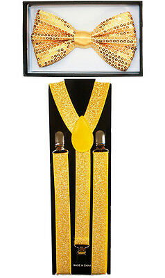 Sparkle Gold SUSPENDERS and BOW TIE MATCHING SET Tuxedo Suit Adult Teen Combo - Sparkle Suspenders