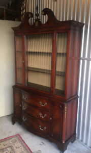An exquisite antique display cabinet/hutch by Bernhardt (refinis