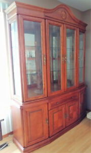 Brown China Cabinet with interior lights