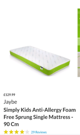 Anti allergy foam single mattress