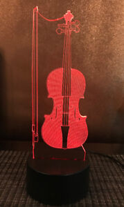 USB Power Violin Lamp - Colour Changing Lamp Rechargeable Acryli