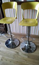 2 stylish yellow breakfast bar chairs - adjustable height, swivel