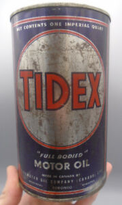 VINTAGE 1960's TIDEX MOTOR OIL IMPERIAL QUART CAN TIDEWATER OIL