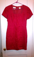 Liz Claiborne Embroidered 100% Linen Square Necked Short Sleeve