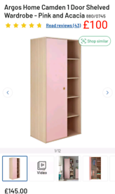 Pink 1 door Wardrobe with shelves only £100. RBW Clearance Outlet Leic