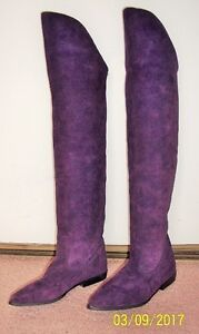 Suede Purple Knee High Boots – Size 6
