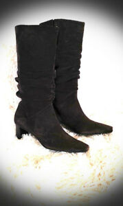 BRAZILIAN QUALITY SUEDE LEATHER BOOTS - SIZE 7.5