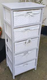 5 white drawer tower