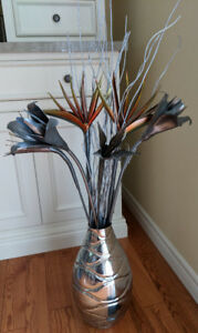 Pier 1 Imports Metal Vase with Metal Flowers