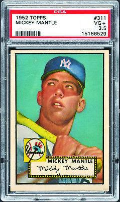 1952 Topps #311 Mickey Mantle Rookie HOF Yankees PSA 3.5 *652412