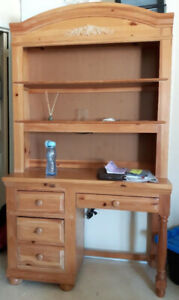 Child's Bedroom Pine Desk and Hutch
