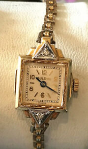 MONTRE VINTAGE ART DECO BULOVA MECANIQUE PLAQUÉE OR.2 DIAMANTS.