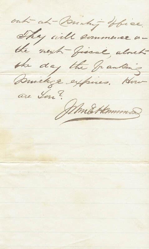 JOHN E. HAMMOND - AUTOGRAPH LETTER SIGNED 05/27/1873