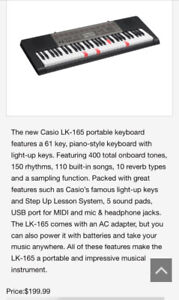 Casio LK-165 keyboard with stand.