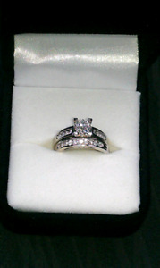10K Princess Wedding Set/White Gold