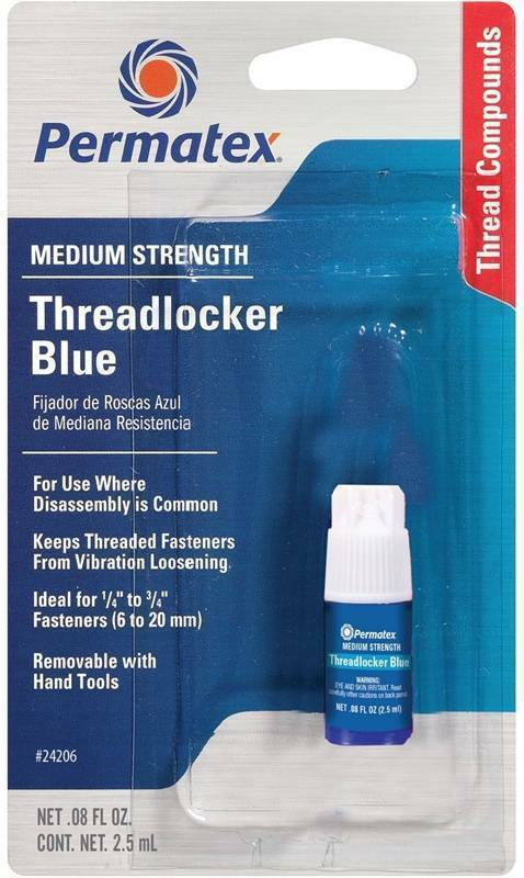 Permatex 24206 Medium Strength Threadlocker Blue .08 oz Bottle Adhesives, Sealants & Tapes