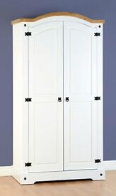 Brand New Flat Packed In Box White Corona Double Wardrobe
