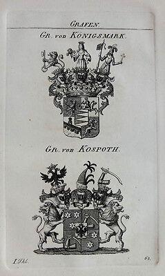 1828 Wappen von Königsmark Kospoth Kupferstich Tyroff