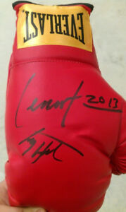 Lennox Lewis and Larry Holmes Autographed Boxing Glove