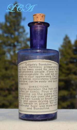 Pure PURPLE antique COLGATE & CO Perfume bottle w/ BANDOLINE HAIR LABEL
