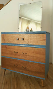 Vintage dresser with mirror and legs