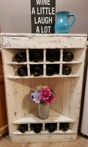 Solid wood antiqued wine rack!
