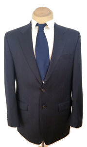 Ralph Lauren Shiny Dark Navy blue mens Blazer Jacket100 Wool 42L