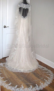 New embroidery cathedral lace veil