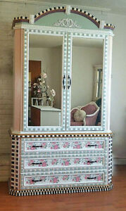 Hand-painted, Mackenzie-Childs Inspired Armoire
