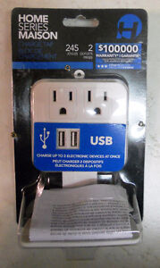 Home Series Plug-in 2 Outlet 2 USB Port Charge Tap 245 J