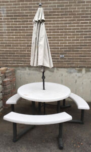 Round patio table, umbrella and benches